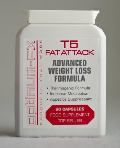 Optimum-fx T5 Fat Attack - Fórmula avanzada para perder peso. ¡Suministro para 1 mes! ¡12 Bonos GRATIS!