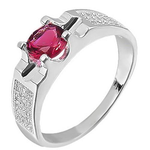 C-Princessリング 指輪 レディース レッドラインストーン付き メッキ キラキラ 輝き エレガント アクセサリー 飾り 結婚式 パーティー (14)