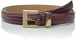Calvin Klein Women's 20mm Feather Edge Embossed Lizard Belt, Bordeaux, Medium