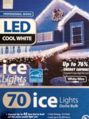 70 Cool White Led Ice Lights Icicle Style Lights With Dome Bulbs & White Wire