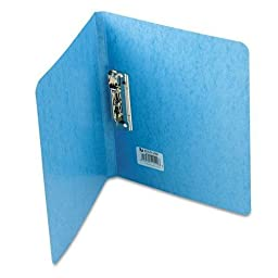 ACCO 42522 PRESSTEX Grip Punchless Binder With Spring-Action Clamp, 5/8quot; Cap, Light Blue