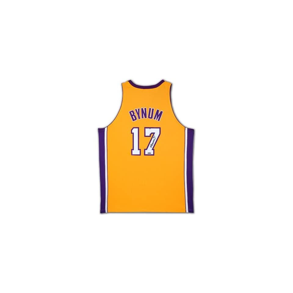 Andrew Bynum Autographed Los Angeles Lakers Home/Yellow Jersey (UDA)   Autographed NBA Jerseys