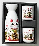 日本の心シリーズ 千両万両猫 1合徳利 盃(2) 酒器セット美濃焼