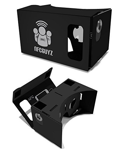 BLACK Google Cardboard Complete Kit Virtual Reality VR 3D Glasses From NFCGuyz With Premium Feel Carboard - Pre-Built And Ready To Assemble Top Quality With Numbered Instructions - NFC - Magnets - Velcro and Lenses New