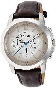 Fossil men 39 s fs4533 brown leather strap grey gradient analog dial chronograph watch for Men gradient leather strap