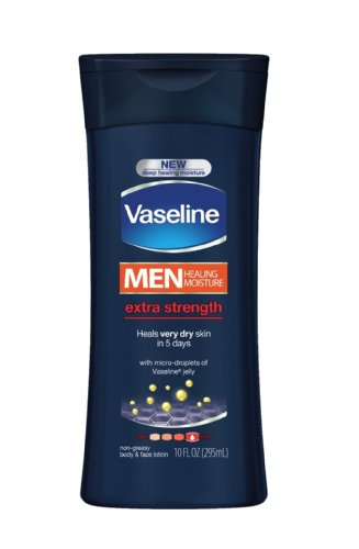 Vaseline Men Body & Face Lotion, Extra Strength, 10 Oz