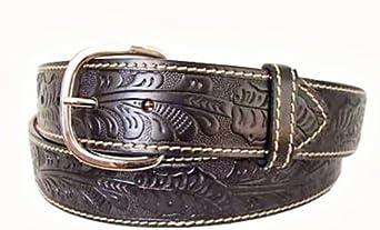 Aquarius Men's Big and Tall Western Cowboy Leather Belt Black Size 44 Waist