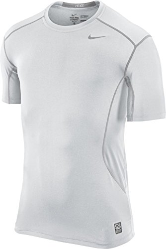 New Nike Men's Pro Combat Core 2.0 Fitted SS T-Shirt White/White/Cool Grey Large