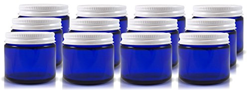 2 Oz Cobalt Blue Glass Straight Sided Jars, Lids Included, (12 Pack); Great for Creams, Cosmetics, Lotions and More (Leak Proof Glass Jar compare prices)