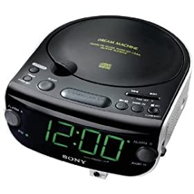 sony machine dream dual alarm clock cd player with am fm stereo radio tuner. Black Bedroom Furniture Sets. Home Design Ideas