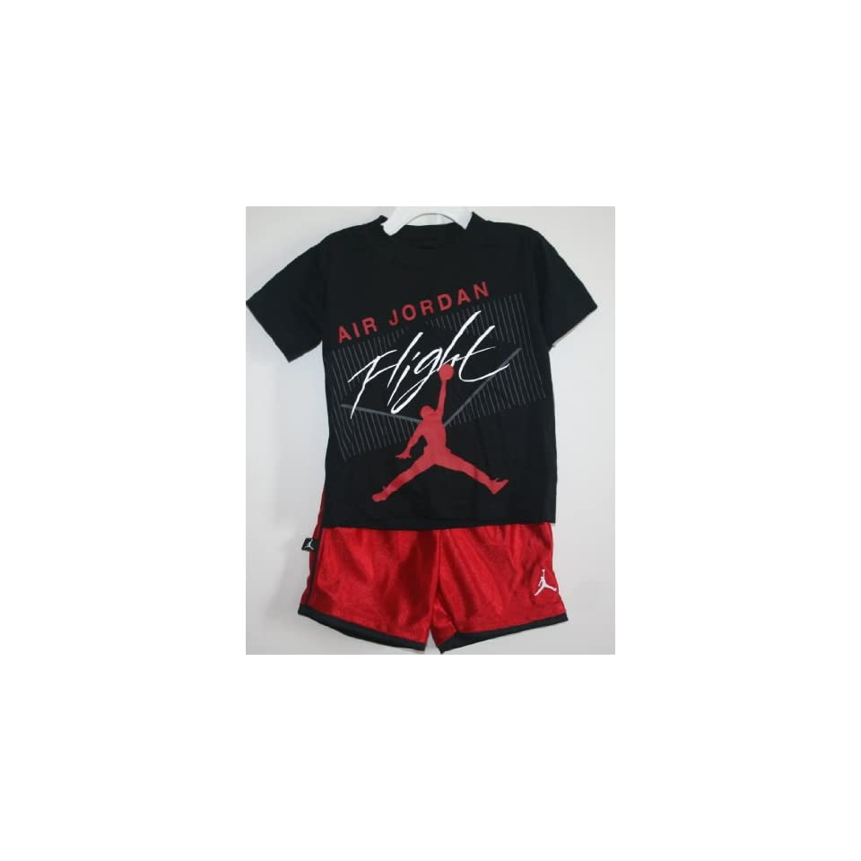 54fcb74e946eb3 Nike Jordan Jumpman Toddler Boy s  Air Jordan Flight  Short Set Black Red  (2T) Sports   Outdoors