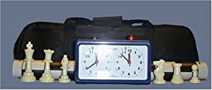 ChessCentral's Tournament Chess Set with Triple Weighted Black & Ivory Chess Pieces (34 Chess Pieces-2 Extra Queens), Black Board, Black Canvas Bag and Analog Clock