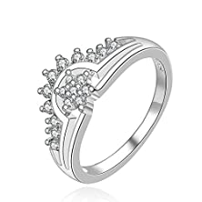 buy Fendina Womens Silver Plated Bling Cz Stone Crystal Promise Engagement Wedding Ring For Bridal Eternity Anniversary Band Hisper Style Size 8