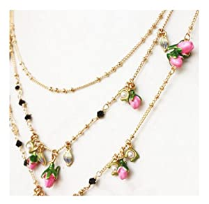 Mermaid Ladies Gorgeous /Premium Quality/ Classic Enamel Glass Crystal Beads/ Elegant Brass Freshwater Pearls Long Necklace Valentine's Day /Mother's Day Gift