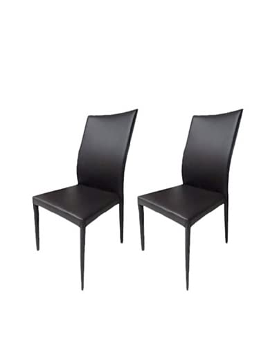 Casabianca Furniture Set of 2 Heritage Dining Chairs, Chocolate