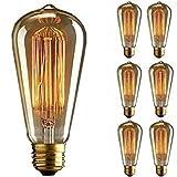 KINGSO 6pcs E27 60W Edison Lampadina Lampadina Vintage Retro Stile ST64 Filamento di Tungsteno 19 Ancore a Incandescenza per Casa Light Fixtures Decorativo 220V