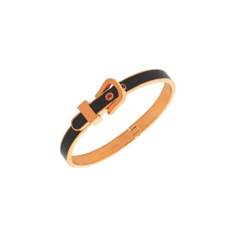 Stainless Steel Rose Gold Tone Black Belt Buckle Bangle Bracelet