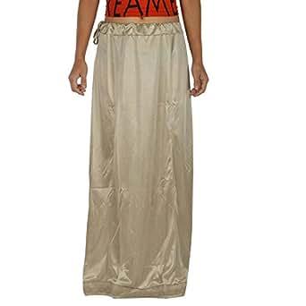 Amazon.com: Odishabazaar Women Silver Saree Petticoat Satin Silk