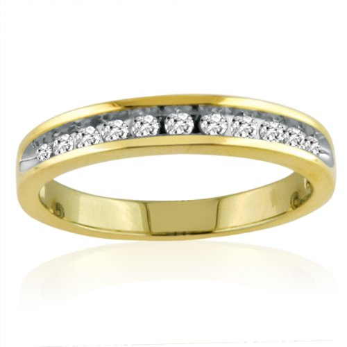 10K Yellow Gold Ladies Channel Set Diamond Anniversary Ring (1/4cttw. Sizes 5-7 1/2)