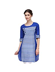 Sia Fashion Blue Solid Stripe Cut And Sew Kurta For Women