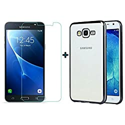 ACCESSORY COMBO (SAMSUNG GALAXY J5 2015 OLD EDITION) ELECTROPLATED TRANSPARENT BLACK BACK COVER AND ULTRA CLEAR TEMPERED GLASS