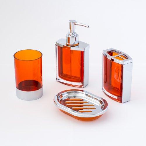 Orange bathroom decor for Orange bathroom accessories set