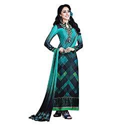 Resham Fabrics Turquoise French Crepe Dress Material