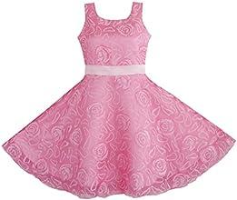 Sunny Fashion Little Girls39 Dress Pink Rose Wedding Pageant Kids Boutique