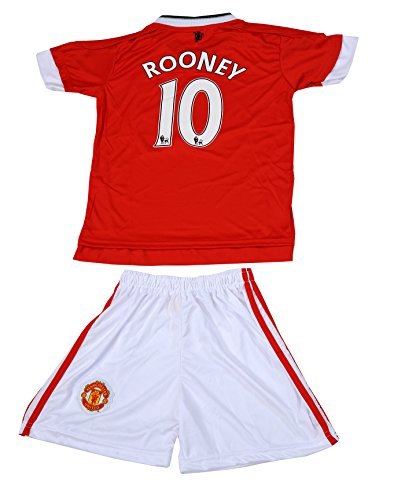 2015 Manchester United #10 Rooney Kids Home Soccer Jersey & Shorts Youth Sizes (8-9 Years)