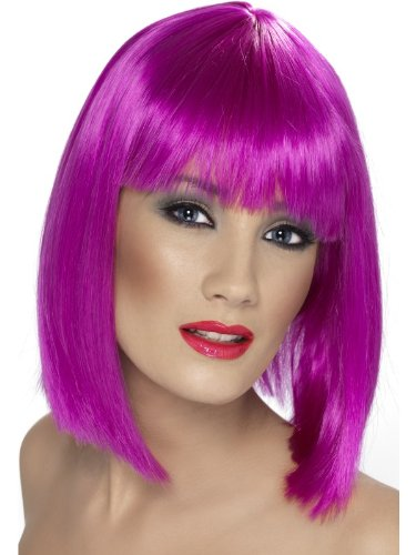 Smiffy's Women's Glam Wig Neon Short Blunt with Fringe, Purple, One Size