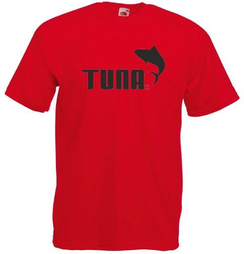 Tuna, Puma inspirert Gedruckt T-Shirt - rot/ schwarz L= 106/111 cm
