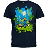 Official Licensed Minecraft Adventure with Steve Youth T Shirt Blue L (10-12)