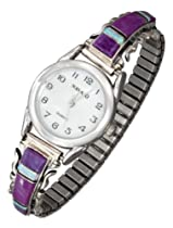 Sterling Silver Ladies Southwest Watch with Magenta, Opal and Onyx