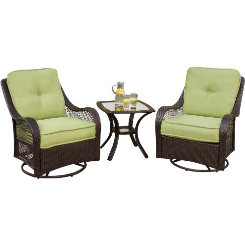Hanover ORLEANS3PCSW Orleans 3-Piece Outdoor Lounging Set, Includes 2 Swivel-Gliders and 24 by 24-Inch End Table