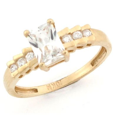 14k Solid Yellow Gold CZ Channel Set Promise Ring