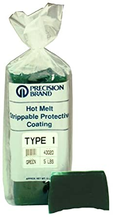 Precision Brand Type 1 Hot Melt Strippable Protective Coating, Transparent Green Color, 30 Pound Package