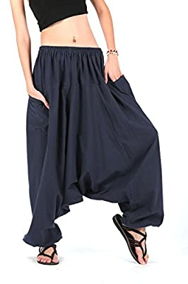 CandyHusky's Men Women 100% Cotton Baggy Boho Aladin Yoga Harem Pants