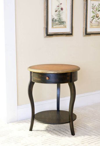 Safavieh American Home Collection Alsace Antiqued Dark Brown Round One Drawer Side Table Amazon.com