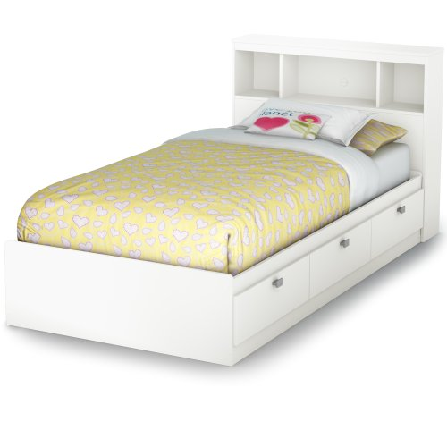 South Shore Spark Twin Storage Bed And Bookcase Headboard, Pure White front-890815