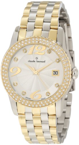 Claude Bernard Women's 61163 357JPM AD Ladies Fashion Gold PVD and Steel Swarovski Crystal Watch