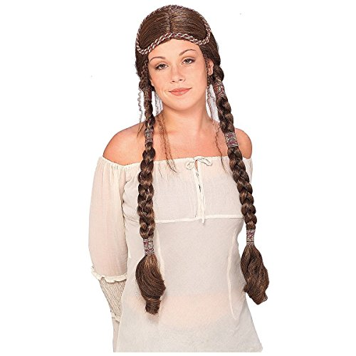 GSG Renaissance Lady Costume Wig Adult Womens w/ Large Braids Medieval Maiden (Elf Princess Costume Kit)