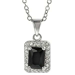 Tressa Silvertone White and Black Emerald-cut Cubic Zirconia Necklace
