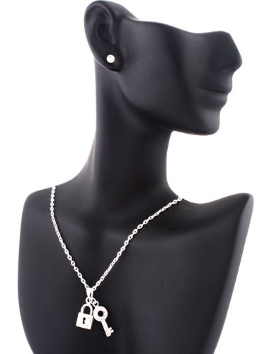 Ladies Silver Iced Out Lock and Key 20 Inch Adjustable Chain Necklace & Earrings Jewelry Set