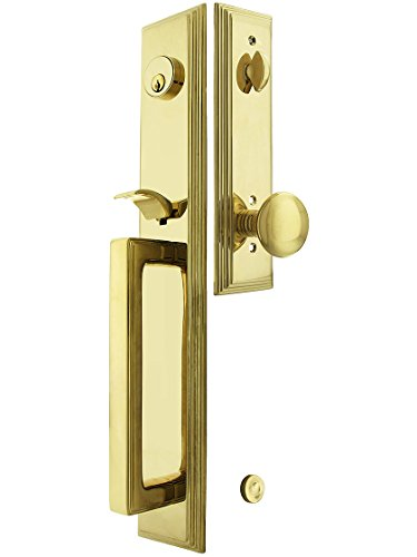 """Melrose Style Tubular Handleset In Pvd With Providence Knobs And 2 3/4"""" Backset. Antique Handles. front-742385"""