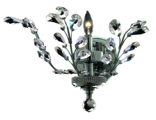 Elegant Lighting 2011W16C/Rc Orchid 14-Inch High 1-Light Wall Sconce, Chrome Finish With Crystal (Clear) Royal Cut Rc Crystal front-890893
