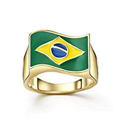 Gold Plated Brazil National Flag Ring,Gifts for the Brazil Football Team Fan 9 Christmas Gift by Karazan