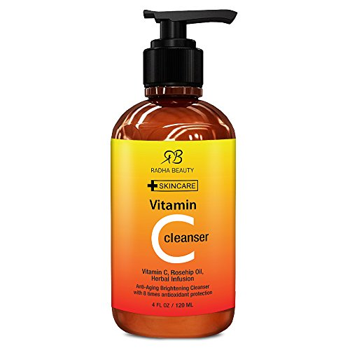 Vitamin C Facial Cleanser 4 oz - Best face wash for Anti Aging & Skin Brightening with Vitamin C, Herbal Infusion, Rosehip Oil - with 8 times antioxidant protection! primary