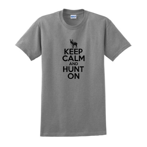 Keep Calm And Hunt On T-Shirt Large Sport Grey