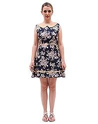 Mini Short length frock style western dress Women | Floral Print | Dark Blue| Fabric Rayon | Casual wear | Round Neck | Sleeveless | Contrast Collar