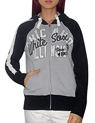 MLB CHICAGO WHITE SOX Womens Athletic Zip-Up Hoodie (Vintage Look)